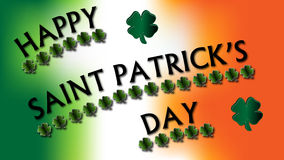 Happy St. Patrick's Day Clovers Sign. Happy Saint Patrick's Day written in text and underlined in four leaf clovers over top of an Irish flag colored background royalty free illustration