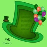 Happy St. Patrick`s Day,Cute background in depth layer with place for your text,for invitation,greeting card or poster. Vector illustration Royalty Free Stock Image