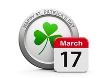 Happy St. Patrick`s Day. Emblem of trefoil with calendar button - The Seventeenth of March - represents Happy Saint Patrick`s Day, three-dimensional rendering Stock Photos