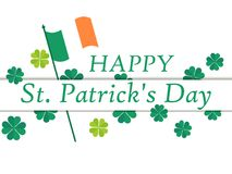 Happy St. Patrick`s Day. Flag of Ireland and green clover leaves. Festive banner, greeting card. Typography design. Vector illustration Stock Photo