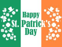 Happy St. Patrick`s Day. Flag of Ireland, green clover leaves and leprechaun hat. Festive banner, greeting card. Typography design. Vector illustration Stock Photo