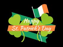 Happy St. Patrick`s Day. Flag of Ireland, green clover leaves and ribbon. Festive banner, greeting card. Typography design. Vector illustration Royalty Free Stock Images