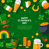 Happy St. Patrick`s Day Green Background Royalty Free Stock Image