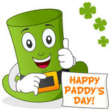 Happy St. Patrick's Day with Green Hat Stock Image