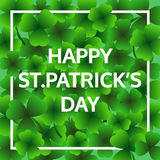 Happy St.Patrick's day, green leaf greeting card, vector. Background Stock Illustration