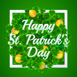 Happy St. Patrick's Day. Greeting card with border. Golden coins and clovers. Vector illustration. EPS 10 royalty free illustration