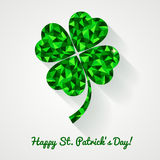 Happy St. Patrick's Day! Greeting card with polygonal clover lea Royalty Free Stock Photos