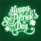 Happy St. Patrick`s Day hand drawn lettering design vector illustration. Perfect for advertising, poster, announcement, invitation. Party, greeting card, bar royalty free illustration