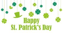 Happy St. Patrick`s Day. Hanging clover and leprechaun hat. Festive banner, greeting card. Typography design. Vector illustration Royalty Free Stock Image