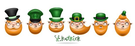 Patrick heads and green hat set 3 royalty free illustration