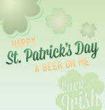 Happy St. Patricks Day Labels. Luck of the Irish happy St. Patricks Day card with beer on me slogan Royalty Free Stock Photos