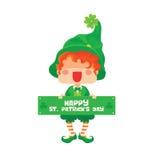 Happy St. Patrick`s Day Leprechaun Greeting Sign Stock Photo