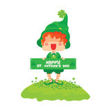 Happy St. Patrick`s Day Leprechaun Greeting Sign Royalty Free Stock Image