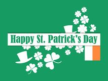 Happy St. Patrick`s Day. Leprechaun hat and green clover leaves. Festive banner, greeting card. Typography design. Vector illustration Stock Photos
