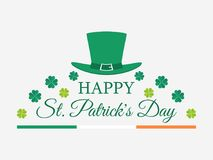 Happy St. Patrick`s Day. Leprechaun hat and green clover leaves. Festive banner, greeting card. Typography design. Vector illustration Royalty Free Stock Images