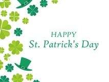 Happy St. Patrick`s Day. Leprechaun hat and green clover leaves. Festive banner, greeting card. Typography design. Vector. Illustration Royalty Free Stock Photo