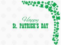 Happy St. Patrick`s Day. Leprechaun hat and green clover leaves. Festive banner, greeting card. Typography design. Vector. Illustration Stock Photos