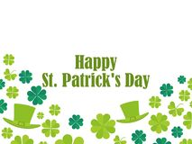 Happy St. Patrick`s Day. Leprechaun hat and green clover leaves. Festive banner, greeting card. Typography design. Vector illustration Stock Image