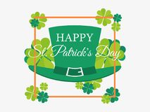 Happy St. Patrick`s Day. Leprechaun hat and leaves of green clover in a frame. Festive banner, greeting card. Typography design. Vector illustration Stock Photos