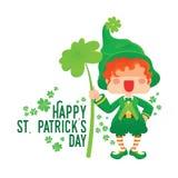 Happy St. Patrick`s Day Leprechaun Holding Shamrock Stock Image