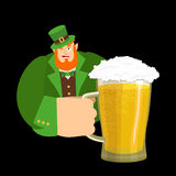 Happy St.Patrick `s Day. Leprechaun and mug beer. Dwarf with red Stock Images