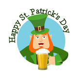 Happy St.Patrick `s Day. Leprechaun and mug beer. Dwarf with red Royalty Free Stock Images