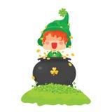 Happy St. Patrick`s Day Leprechaun with Pot of Gold Stock Photo