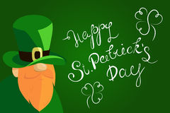 Happy St. Patrick`s Day lettering with Beared Leprechaun Character and clover shamrock. Traditional Irish hollyday Stock Photo