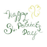 Happy St. Patrick`s Day lettering with clover shamrock. Traditional Irish hollyday template design. Stock Photo