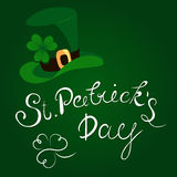 Happy St. Patrick`s Day lettering with clover shamrock. Traditional Irish hollyday template design. stock illustration