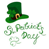 Happy St. Patrick`s Day lettering with clover shamrock. Traditional Irish hollyday template design. Stock Images