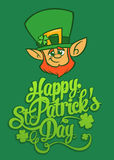 Happy St. Patrick`s Day lettering design vector illustration with Leprechaun. Perfect for advertising, poster, announcement, invitation, party, greeting card Royalty Free Stock Image