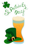 Happy St. Patrick`s Day lettering with green clover shamrock beer glass and Leprechauns hat. Traditional Irish hollyday vector illustration