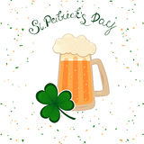 Happy St. Patrick`s Day lettering with green clover shamrock beer mug. Irish hollyday template design. vector illustration