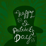 Happy St. Patrick`s Day lettering with Leprechaun Character and clover shamrock. Traditional Irish hollyday template royalty free illustration