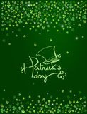 Happy St. Patrick`s day lettering logo with Leprechaun hat  on sparkling dark green clover background. Vector Royalty Free Stock Images