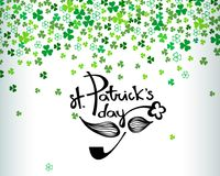 Happy St. Patrick`s day lettering with mustache and pipe on white background with green clover shamrock leaves. Abstract Irish holiday backdrop for your Stock Images