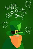 Happy St. Patrick`s Day lettering with Red Beared Leprechaun Character and clover shamrock. Traditional Irish hollyday Stock Photo