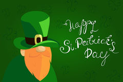 Happy St. Patrick`s Day lettering with Red Beared Leprechaun Character and clover shamrock. Traditional Irish hollyday vector illustration
