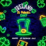 Happy St. Patrick`s Day neon text vector design template. Happy Saint Patrick`s Day neon logo, light banner design element. Colorful modern design trend, night royalty free stock photo