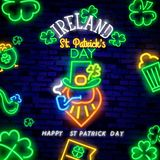 Happy St. Patrick`s Day neon text vector design template. Happy Saint Patrick`s Day neon logo, light banner design element. Colorful modern design trend, night royalty free stock image