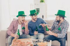 Happy St Patrick`s day! Portrait of stylish, handsome, attractiv Royalty Free Stock Images