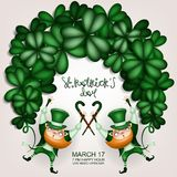 Holiday card with shamrock green gnome vector illustration