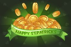 Happy St.Patrick`s Day ribon and coins. Vector Happy St.Patrick`s Day ribon and coins, greeting cards Royalty Free Stock Photo