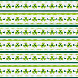 Happy St. Patrick's Day! Seamless striped pattern with shamrocks Stock Photography