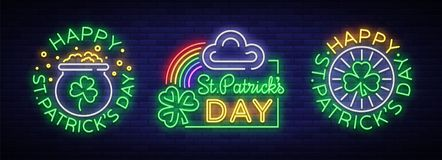 Happy St. Patrick`s day set of vector illustrations in a neon style. Neon sign collection, greeting card, postcard, neon. Banner, bright advertisement, flyer vector illustration