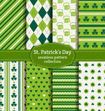 Happy St. Patrick's Day! Set of vector seamless patterns. Happy St. Patrick's Day! Set of holiday backgrounds. Collection of seamless patterns in green, blue Stock Photography