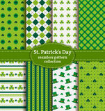 Happy St. Patrick's Day! Set of vector seamless patterns. Happy St. Patrick's Day! Set of holiday backgrounds. Collection of seamless patterns in green, blue Royalty Free Stock Image