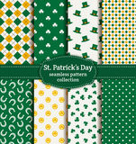 Happy St. Patrick's Day! Set of vector seamless patterns. Happy St. Patrick's Day! Set of holiday backgrounds. Collection of seamless patterns in green, yellow Stock Photography