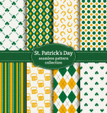 Happy St. Patrick's Day! Set of vector seamless patterns. Royalty Free Stock Photography